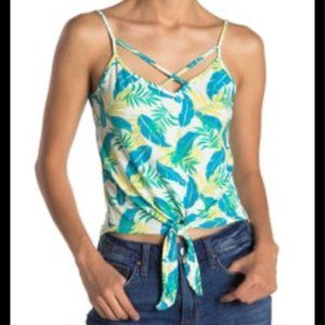 Poof Feather Leaf Print Crop Tank